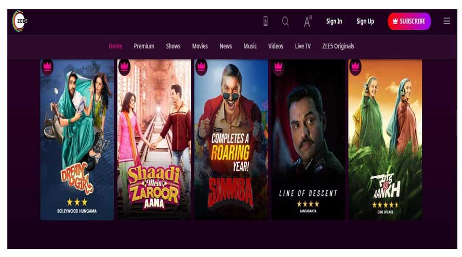 zee5 hindi movies online